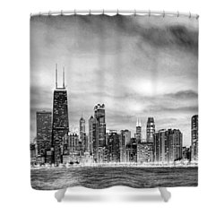 Chicago Gotham City Skyline Black And White Panorama Shower Curtain by Christopher Arndt