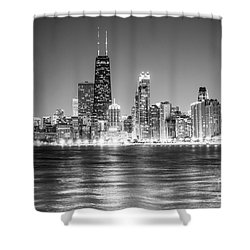 Chicago Lakefront Skyline Black And White Photo Shower Curtain by Paul Velgos