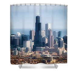 Chicago Looking East 02 Shower Curtain by Thomas Woolworth