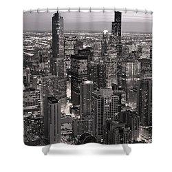 Chicago Loop Sundown B And W Shower Curtain by Steve Gadomski
