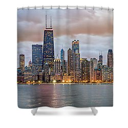 Chicago Skyline At Dusk Shower Curtain by James Udall