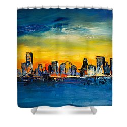 Chicago Skyline Shower Curtain by Elise Palmigiani