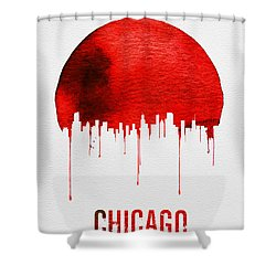 Chicago Skyline Red Shower Curtain by Naxart Studio