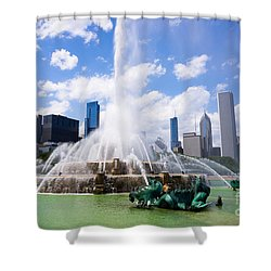 Chicago Skyline With Buckingham Fountain Shower Curtain by Paul Velgos