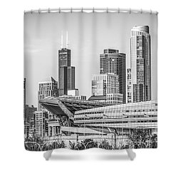 Chicago Skyline With Soldier Field And Willis Tower  Shower Curtain by Paul Velgos