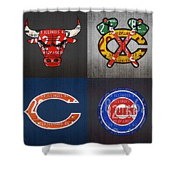 Chicago Sports Fan Recycled Vintage Illinois License Plate Art Bulls Blackhawks Bears And Cubs Shower Curtain by Design Turnpike