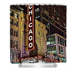 Chicago Theater Aglow Shower Curtain by Frozen in Time Fine Art Photography