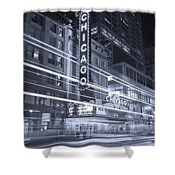Chicago Theater Marquee B And W Shower Curtain by Steve Gadomski