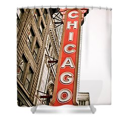 Chicago Theater Sign Marquee Shower Curtain by Paul Velgos
