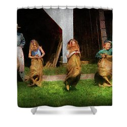 Children - The Sack Race  Shower Curtain by Mike Savad