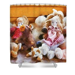 Children - Toys - Childhood Toys  Shower Curtain by Mike Savad