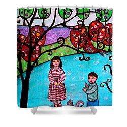 Children Playing Shower Curtain by Pristine Cartera Turkus