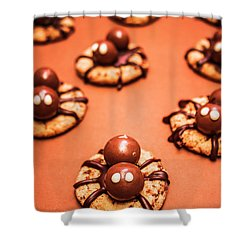 Chocolate Peanut Butter Spider Cookies Shower Curtain by Jorgo Photography - Wall Art Gallery