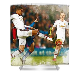 Chris Smalling  In Action  Shower Curtain by Don Kuing