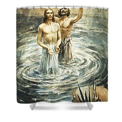 Christ Being Baptised Shower Curtain by Henry Coller