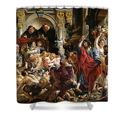 Christ Driving The Merchants From The Temple Shower Curtain by Jacob Jordaens