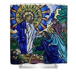Christ Healing Blind Bartimaeus Shower Curtain by Antoinette QUEENNETTATITI Allen