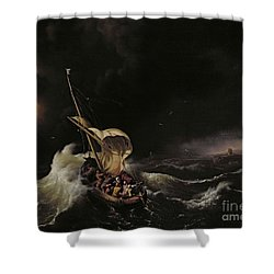 Christ In The Storm On The Sea Of Galilee Shower Curtain by Ludolph Backhuysen
