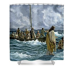 Christ Walking On The Sea Of Galilee Shower Curtain by Anonymous