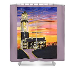 Christmas At The Lighthouse Shower Curtain by Donna Blossom