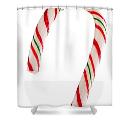 Christmas Candy Cane Shower Curtain by Elena Elisseeva