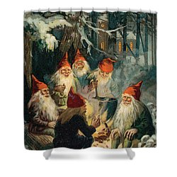 Christmas Gnomes Shower Curtain by English School
