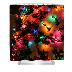 Christmas Lights Coldplay Shower Curtain by Wayne Moran