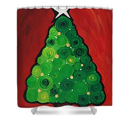Christmas Tree Twinkle Shower Curtain by Sharon Cummings