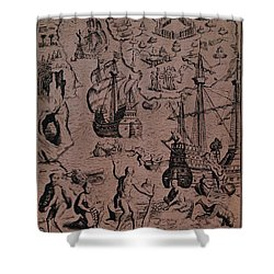 Christopher Colombus Discovering The Islands Of Margarita And Cubagua Where They Found Many Pearls Shower Curtain by Spanish School