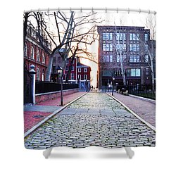 Church Street Cobblestones - Philadelphia Shower Curtain by Bill Cannon