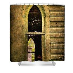 Church Window Church Bell Shower Curtain by Lois Bryan