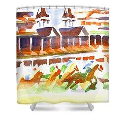 Churchill Downs Watercolor Shower Curtain by Kip DeVore
