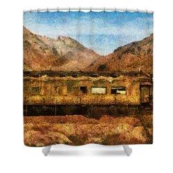 City - Arizona - Desert Train Shower Curtain by Mike Savad
