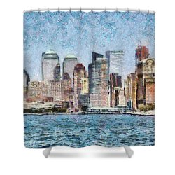 City - Ny - Manhattan Shower Curtain by Mike Savad