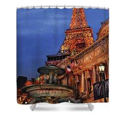 City - Vegas - Paris - Academie Nationale - Panorama Shower Curtain by Mike Savad