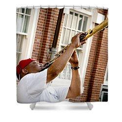 City Jazz Shower Curtain by Greg Fortier
