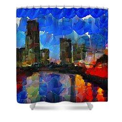 City Living - Tokyo - Skyline Shower Curtain by Sir Josef - Social Critic - ART