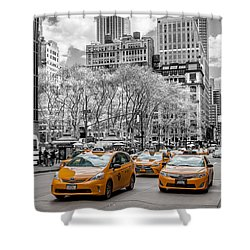 City Of Cabs Shower Curtain by Az Jackson