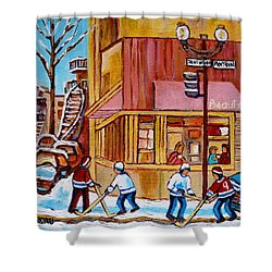 City Of Montreal St. Urbain And Mont Royal Beautys With Hockey Shower Curtain by Carole Spandau