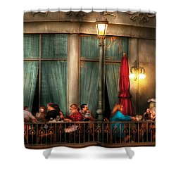 City - Vegas - Paris - The Outdoor Cafe  Shower Curtain by Mike Savad