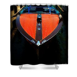 Classic Wooden Boat Shower Curtain by Perry Webster