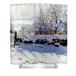 Claude Monet: The Magpie Shower Curtain by Granger
