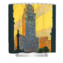 Cleveland - Vintage Travel Shower Curtain by Georgia Fowler
