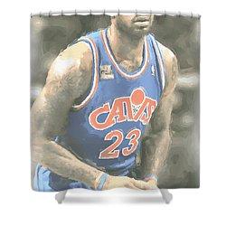 Cleveland Cavaliers Lebron James 1 Shower Curtain by Joe Hamilton