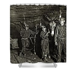 Coal Mine Mule Drivers  1908 Shower Curtain by Daniel Hagerman