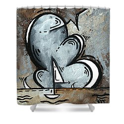 Coastal Art Contemporary Sailboat Painting Whimsical Design Silver Sea II By Madart Shower Curtain by Megan Duncanson