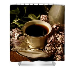 Coffee And Lilacs In The Morning Shower Curtain by Lois Bryan