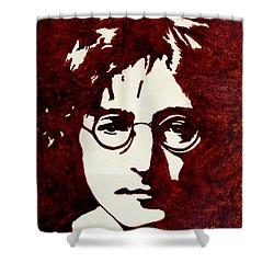 Coffee Painting John Lennon Shower Curtain by Georgeta  Blanaru