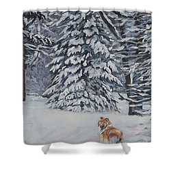 Collie Sable Christmas Tree Shower Curtain by Lee Ann Shepard