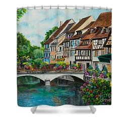 Colmar In Full Bloom Shower Curtain by Charlotte Blanchard
